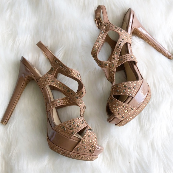 Gianni Bini Shoes - Gianni Bini • Crystal Nude Platform Heels